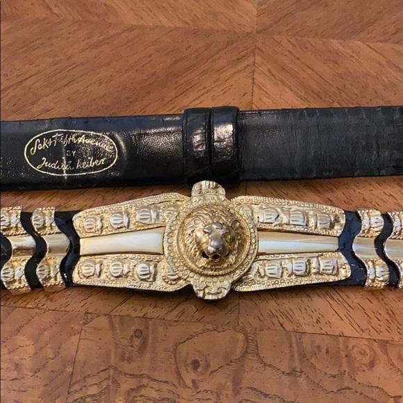 Judith Leiber Black Leather Snakeskin Belt with Gold Lion